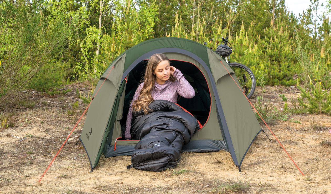Camping with sleeping bag